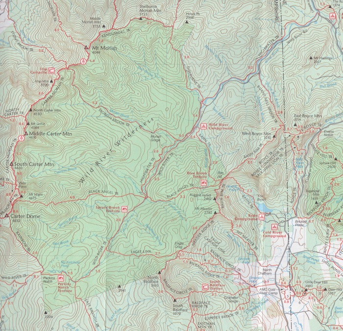 The Wild River Wilderness is on the eastern flank of the White Mountain National Forest, near the Maine border. This image is from the AMC White Mountain Guide. If you plan on exploring the wilderness areas of NH's White Mountains, don't leave home without it.