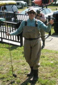Author Deborah Lee Luskin modeling her fishing attire.
