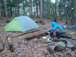 Maybe part of the reason no one else was camping on a Saturday night is that the morning was chilly enough to make a puffy jacket and gloves feel really good! (EasternSlopes.com photo)