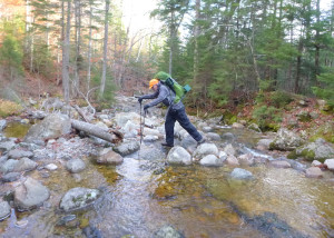 Crossing brooks while staying dry is an essential skill if you are going to hike in a Wilderness Area where bridges and even carefully-placed stepping stones aren't part of the wild landscape. (EasternSlopes.com photo)